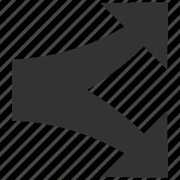 arrow, divide, junction, navigation, separate, split arrows, up down icon