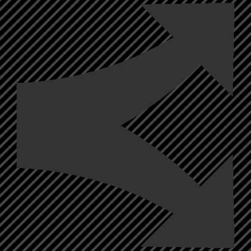 Arrow, divide, junction, navigation, separate, split arrows, up down icon - Download on Iconfinder