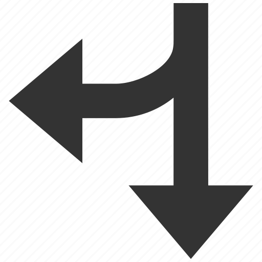 arrow, connection, divide, left down, navigation, split arrows, turn icon