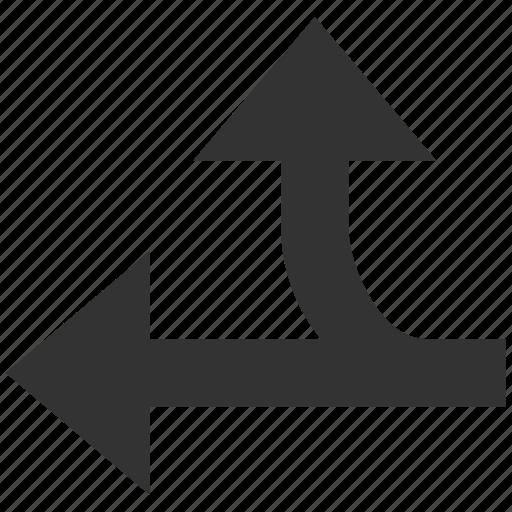 arrow, choice, connection, left up, navigation, split arrows, turn icon