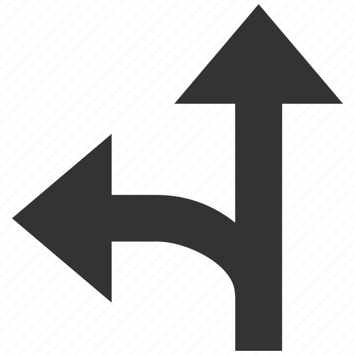 arrow, choice, connection, left up, navigation, split arrows, turn icon