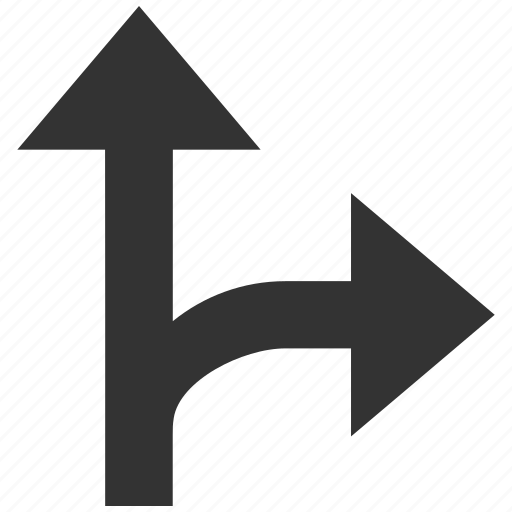 arrow, choice, connection, navigation, right up, split arrows, turn icon