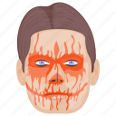 bloody face, horror, killer, scary, spooky character icon