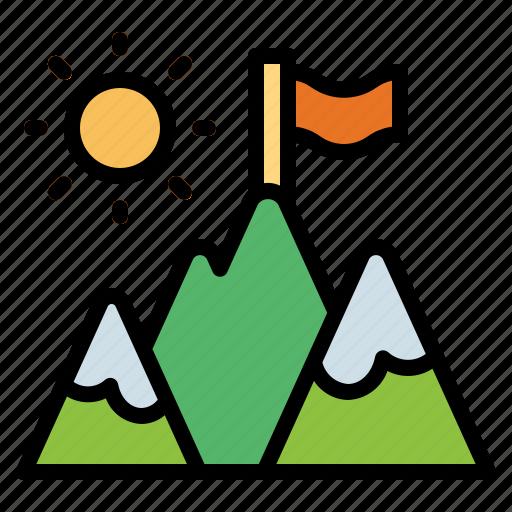 goal, mountain, sport, success icon