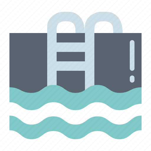 ladder, pool, swimming, water icon