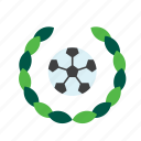 ball, football, olive, soccer, sport, sports, wreath icon