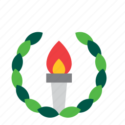 flame, olympic, olympics, sport, sports, torch, wreath icon