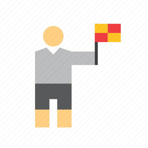 assistant referee, flag, football, people, soccer, sport, sportsman icon