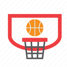 backboard, ball, basket, basketball, net, ring, sport icon