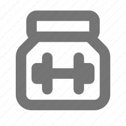 bottle, exercise, food, gym, jar, protein, shake, supplement icon