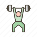 barbell, guy, heavy, magnesium, man, training, weightlifting icon