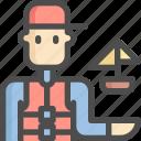 avatar, boat, man, sailboat, ship, sport, sports icon