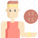 avatar, ball, basketball, man, sport, sports icon