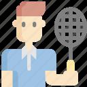 avatar, badminton, man, racket, sport, sports