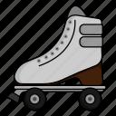 athlete, roller skates, rollerblade, sport icon