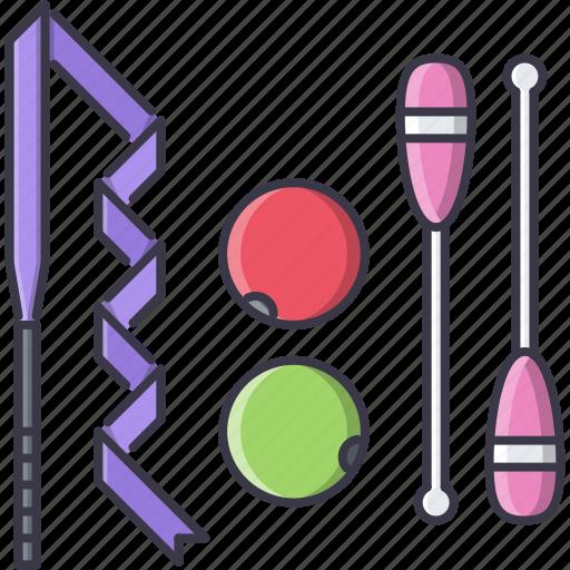 Ball, equipment, figure, gymnastics, ribbon, sport, training icon - Download on Iconfinder