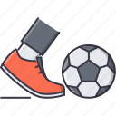 ball, boot, equipment, foot, football, leg, sport icon