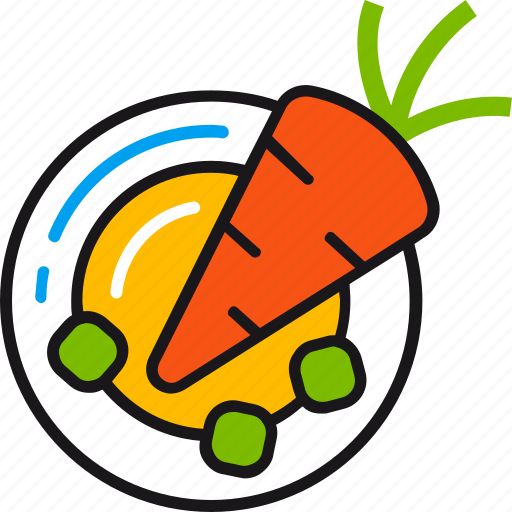 carrot, diet, eat, food, healthy, meal, plate icon