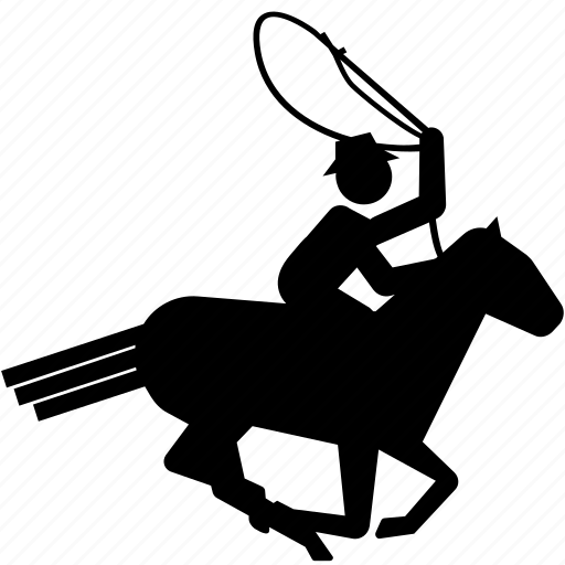 cowboy, horse, lassoo, riding, roundup icon