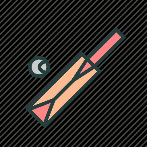 ball, bat, cricket, game, sports icon
