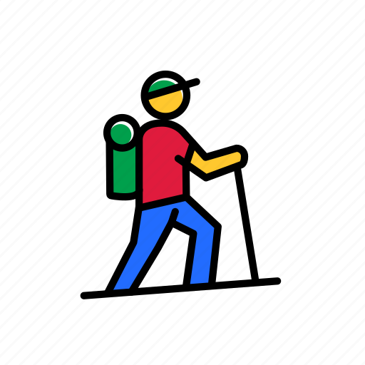 colored, excercise, hike, journey, sport, training, trip icon