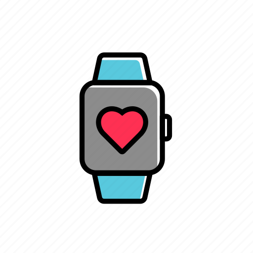 colored, excercise, health, heartbeat, sport, watch icon