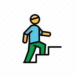 colored, excercise, man, sport, stairs, training icon