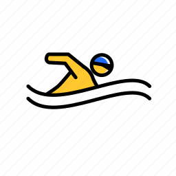 colored, excercise, pool, sport, swim, swimming icon
