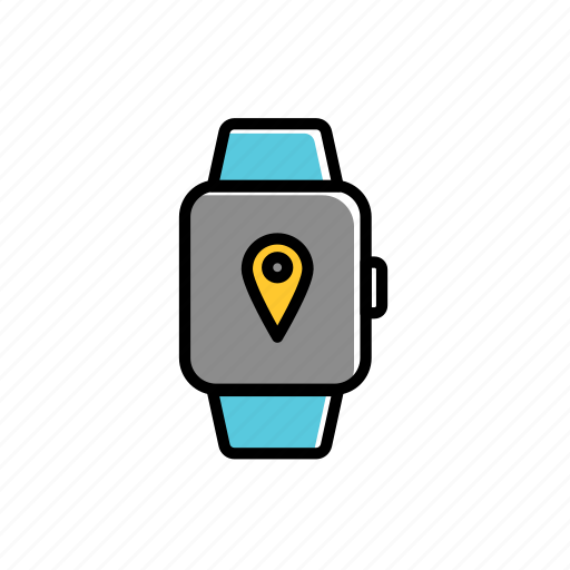 colored, direction, excercise, location, sport, watch icon