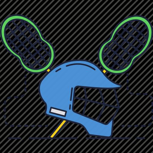 helmet, lacrosse, net, sport, stick icon