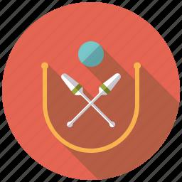 ball, clubs, equipment, gymnastics, rhythmic gymnastics, rope, sports icon