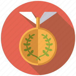 athletics, award, competition, gold medal, laurel wreath, sports, winning icon