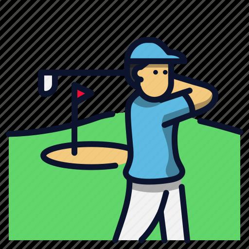 athlete, golf, sport, swing icon