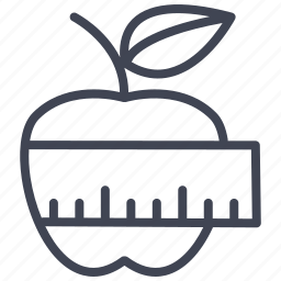apple, health, healthy, measuring, sports, tape icon