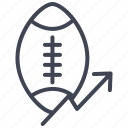 analytics, arrow, ball, football, game, rise, statistics icon