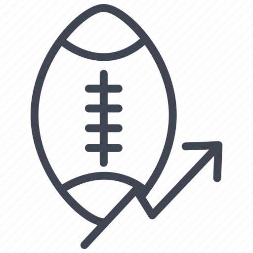 analytics, arrow, ball, football, game, rise, statistics icon