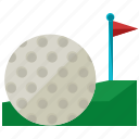 ball, exercise, flag, game, golf, sports icon