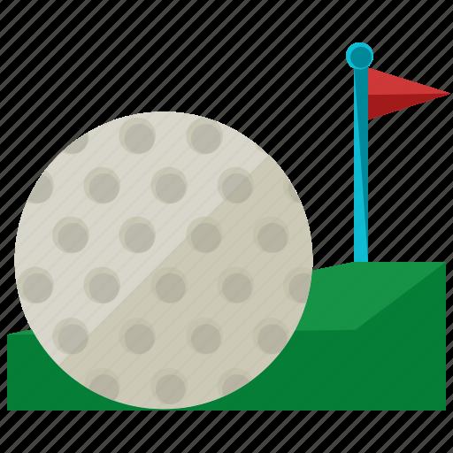 ball, exercise, flag, game, golf, sports icon
