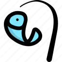 fish, fishing, gear icon