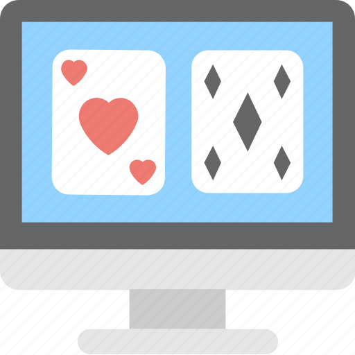 diamond card, heart card, monitor, online game, solitaire game icon