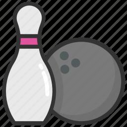 alley pins, bowl pins, bowling, hitting pins, leisure game icon