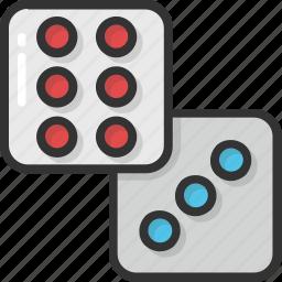casino, casino dice, dice, dice cube, domino icon
