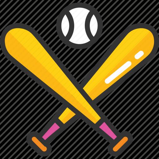 baseball, baseball equipment, baseball game, bat and ball, sports equipment icon