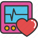 cardiogram, ecg machine, heart frequency, heartbeat, lifeline icon