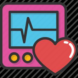 cardiogram, ecg machine, heart frequency, heartbeat, lifeline icon