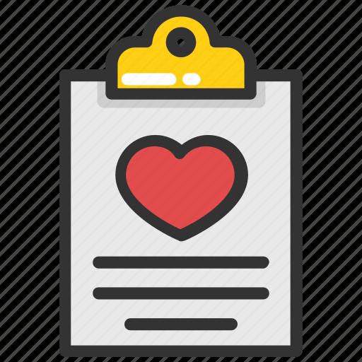 favourite, heart, heart on clipboard, heart symbol, love icon