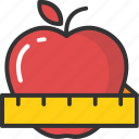 apple slimming, apple with centimeter, dieting, healthy weight loss, natural weight loss icon