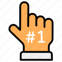 first, first position, gesticulation, hand gesture, no 1, position, winner icon