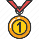 achievement, medal, position, prize, reward icon