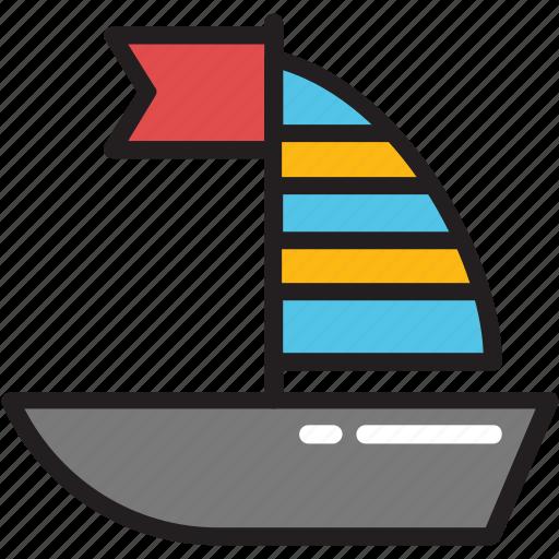 boating, cruise, flag boat, vessel, yacht icon